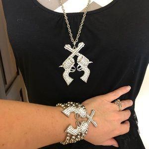 Jewelry - Big Beautiful Bling Gun Necklace and Bracelet Set